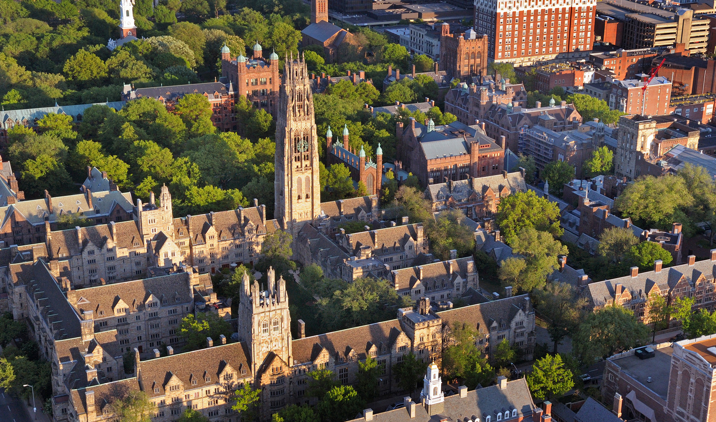 Aerial view of Yale's central campus