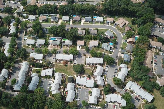 Aerial view of houses in neighborhood