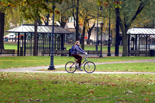Person rides a bike through New Haven Green