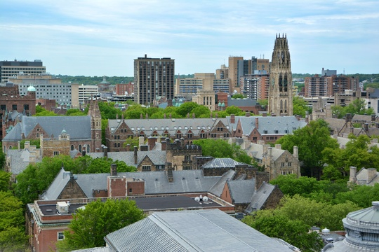 Aerial view of Yale campus buildings