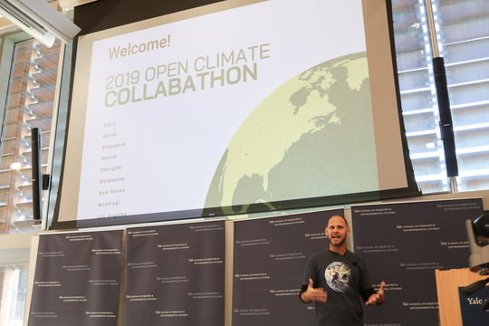 Martin Wainstein speaks at Open Climate Collabathon event